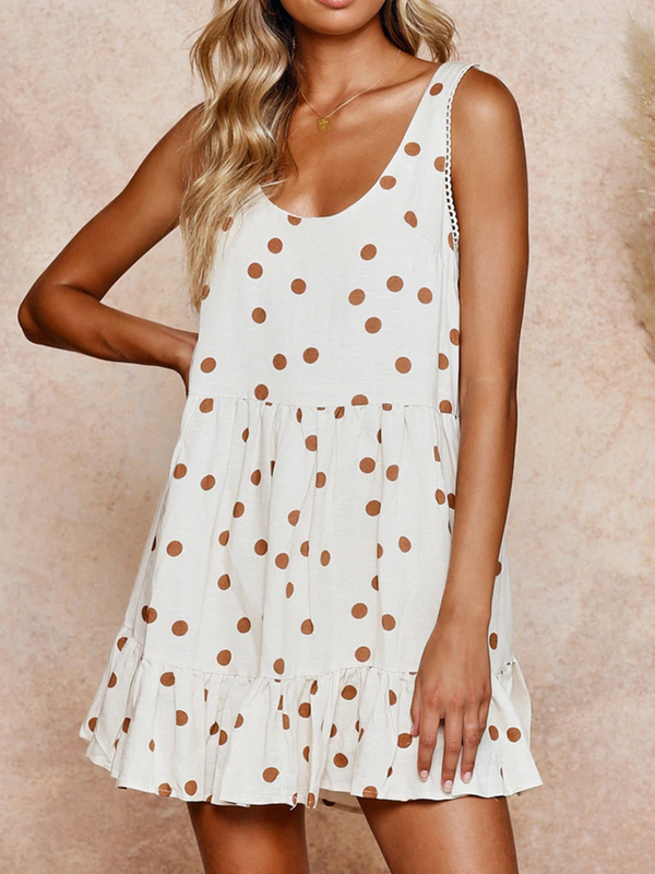 Sleeveless Cotton-Blend Polka Dots Casual Dresses