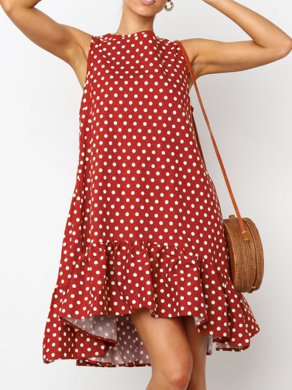 Casual Polka Dots Cotton-Blend Crew Neck Dresses