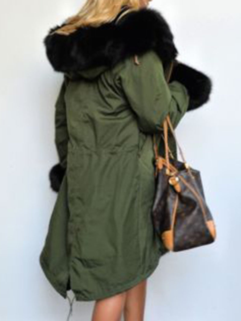 Warm Faux Fur Casual Hooded Coat