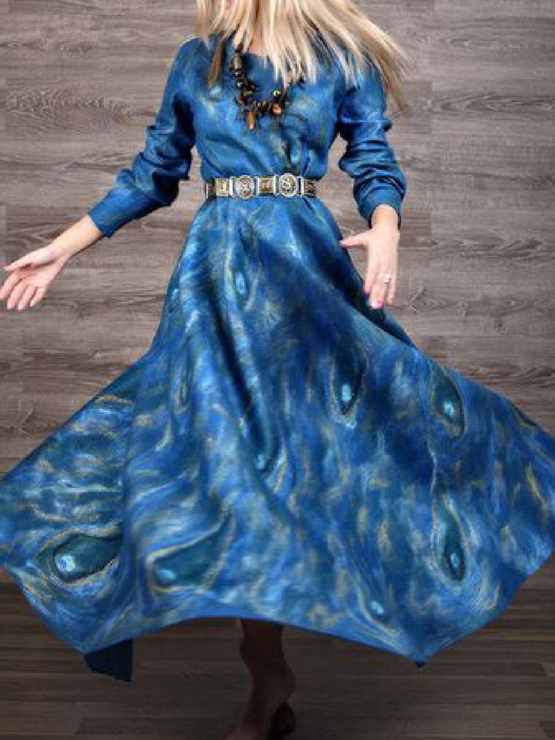 Blue Cotton-Blend Vintage A-Line Dresses