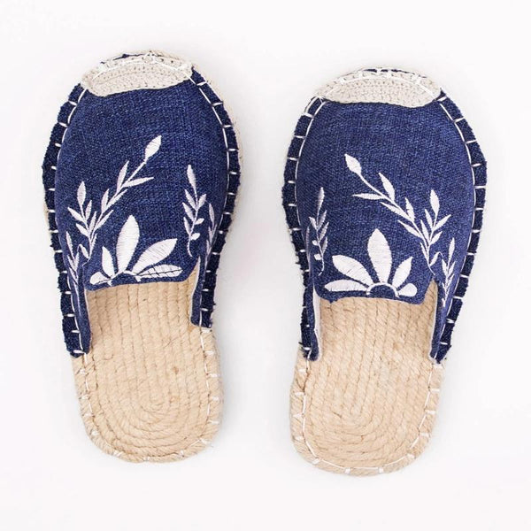 Women Canvas Fashion Embroidered Espadrille Flat Slippers Shoes
