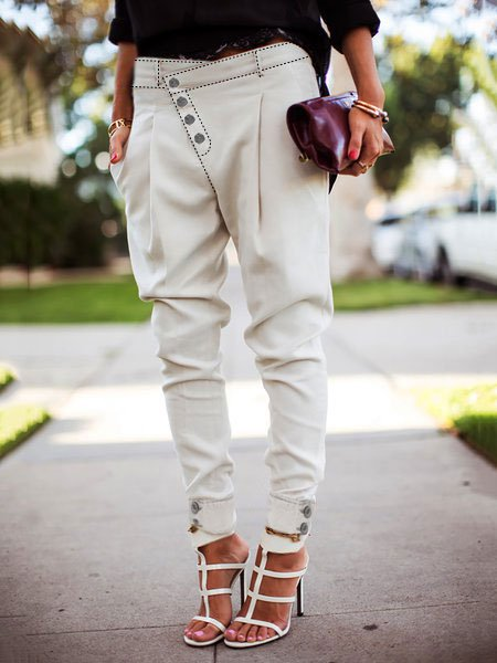 White Solid Cotton Holiday Pants