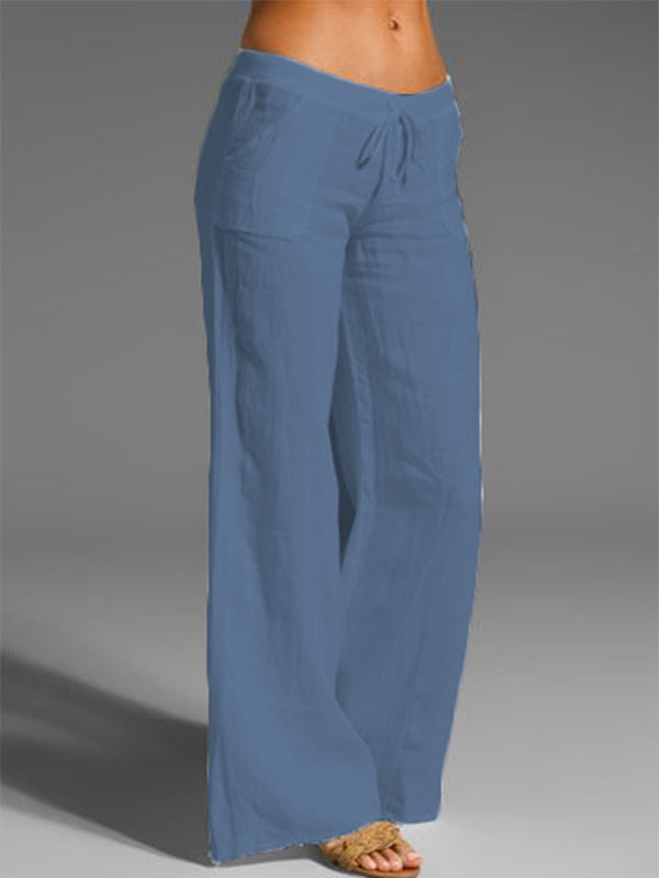 Women Solid High Waist Cotton And Linen Long Pants Casual Beach Trousers