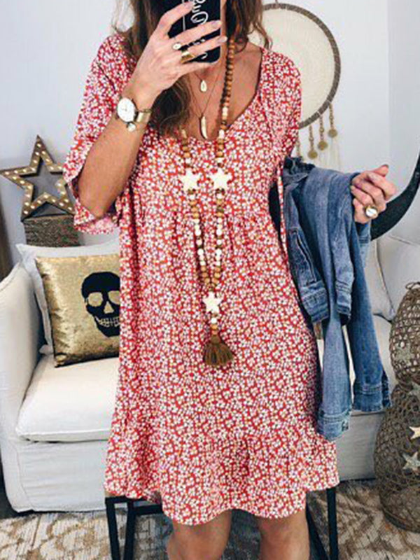 Irisruby Women Floral Printed Summer Dress Boho Short Sleeve Plus Size Midi Dresses