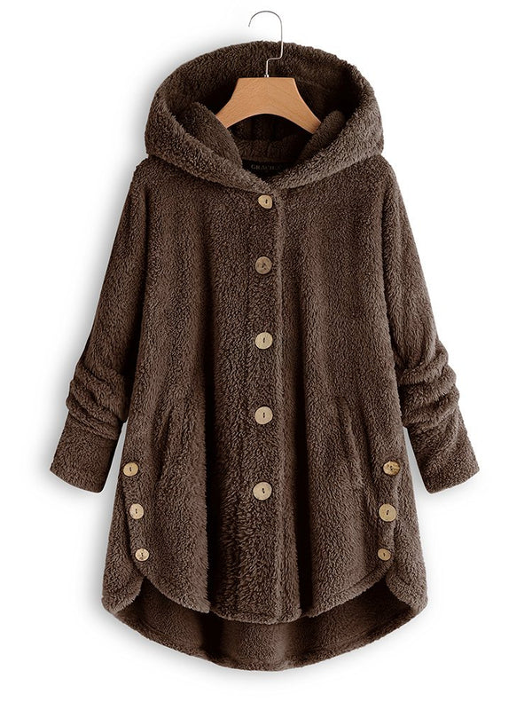 Women's Teddy Bear Coat Fleece Fluffy Shawl Collar Winter Outerwear