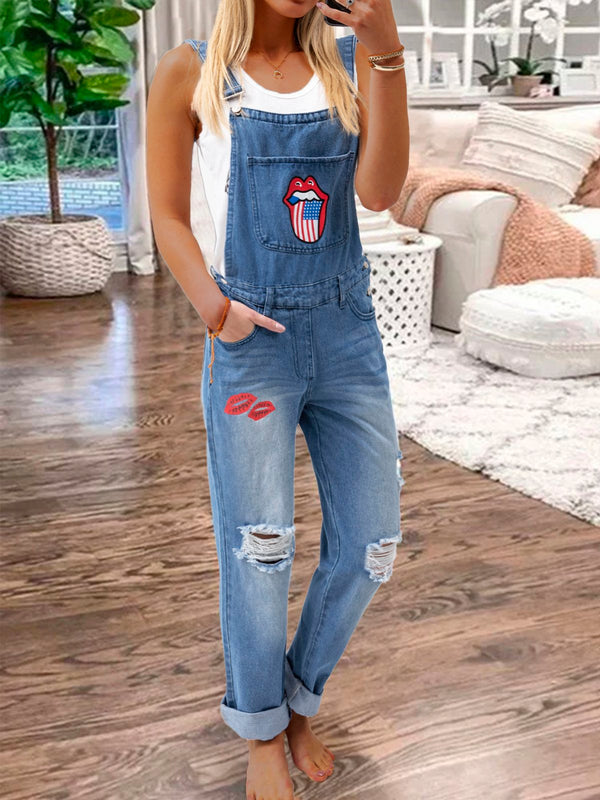 Summer Casual Floral Print Denim Overalls Women Cotton Jumpsuit