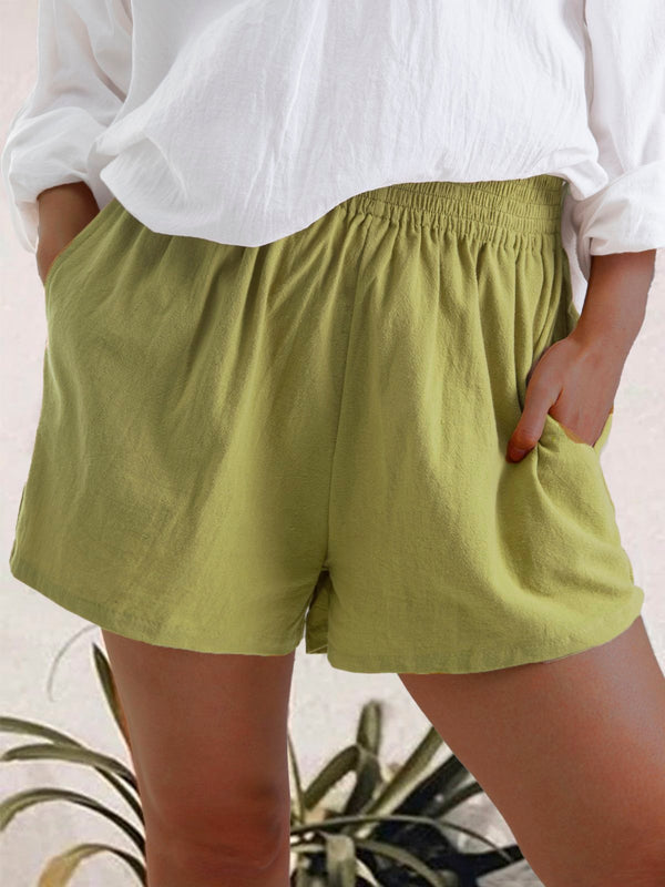 Women Summer Casual Linen & Cotton Short Trousers