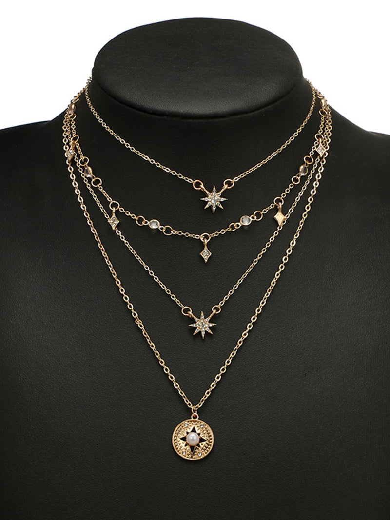 Womens Multi-layer Gold Geometric Alloy Vintage Necklaces