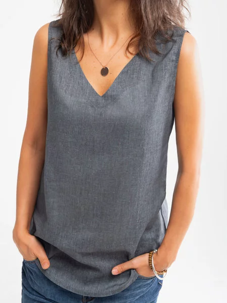 Deep Blue V Neck Cotton Sleeveless Shirts & Tops