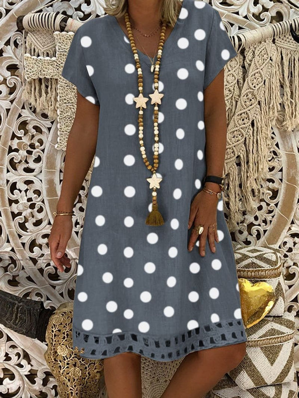 Irisruby Women V-Neck Short Sleeve Hollow Polka Dot Plus Size Summer Dress