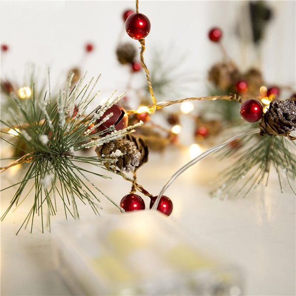 2M LED Pine Cone String Lights Christmas Bedroom Home Decor Battery Powered Christmas Decor