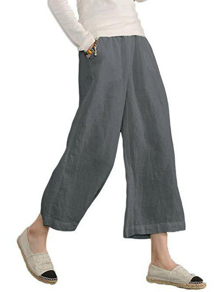 Womens Casual Trousers Loose Fit Linen And Cotton Pants