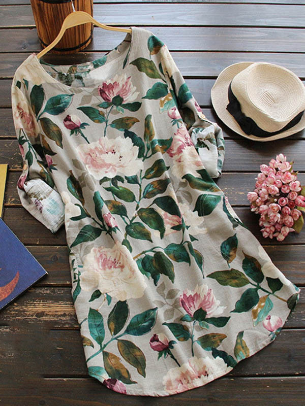 Irisruby Women Daily Long Sleeve Casual Floral-print Floral Casual Dress