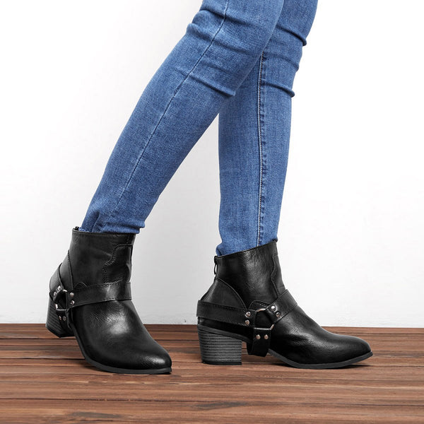 Women Fashion PU Western Booties Casual Zipper Low Heel Ankle Boots