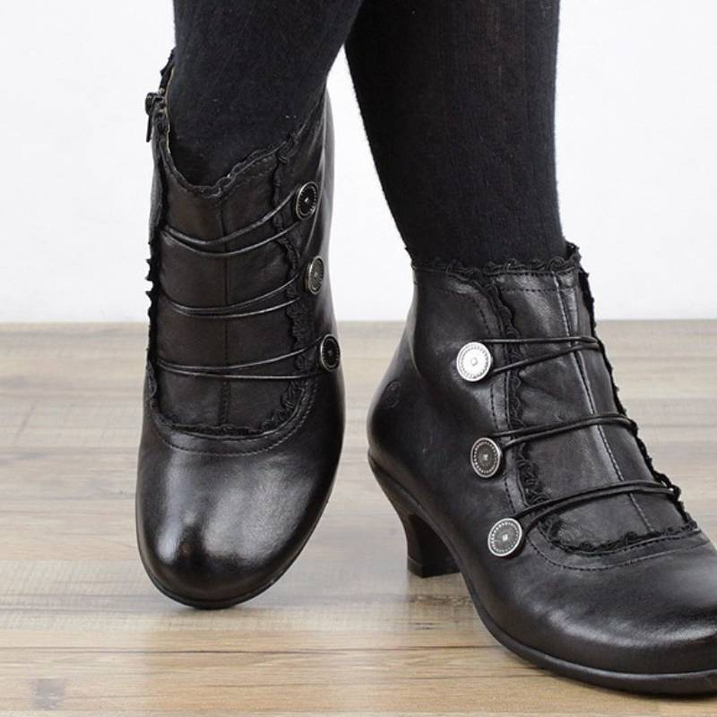 Irisruby Women Boots Sales Leather Comfy Heel Closed Toe Ankle Boots