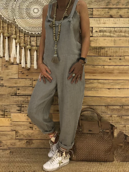 Square neck Spaghetti Solid Linen Pockets Jumpsuits Rompers