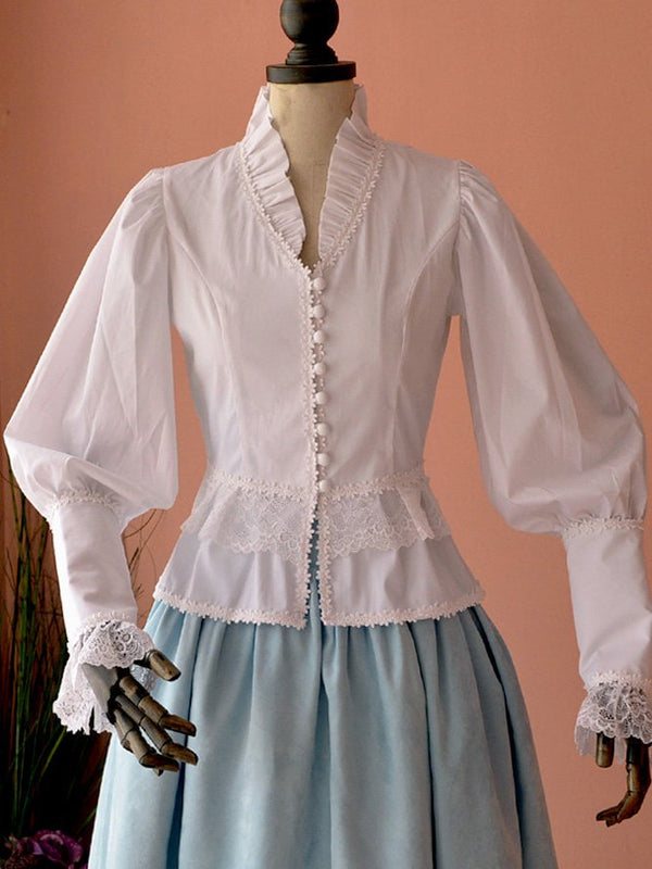 Vintage V Neck Cotton-Blend Shirts & Tops