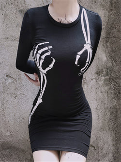 Sexy Gothic Creative Print Crew Neck Long Sleeve Dress