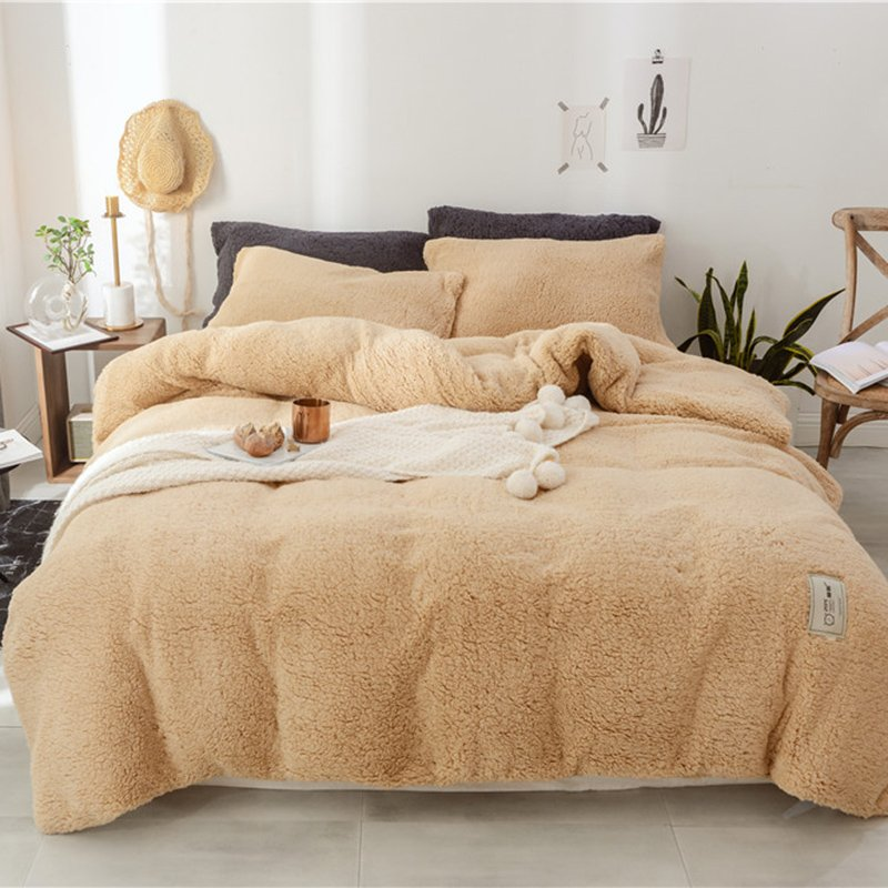 3Pcs Double-sided Thickening Shearling Velvet Bedding Sets Winter Warm Quilt Cover
