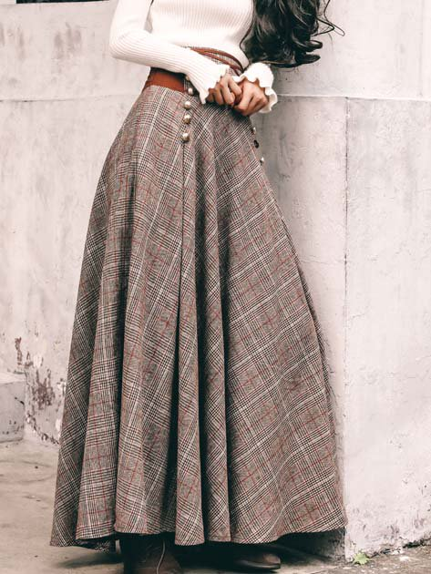 Gray Checkered/plaid Cotton-Blend Drawstring Casual Skirts