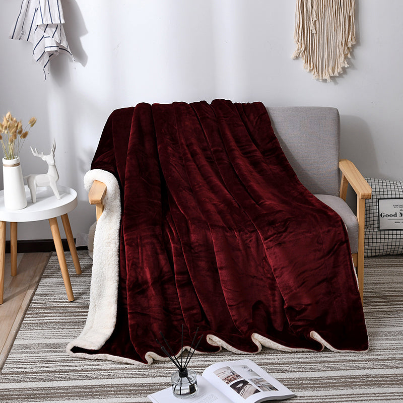 Super Warm Flannel Thick Shearling Blanket Winter Soft Bed Quilt