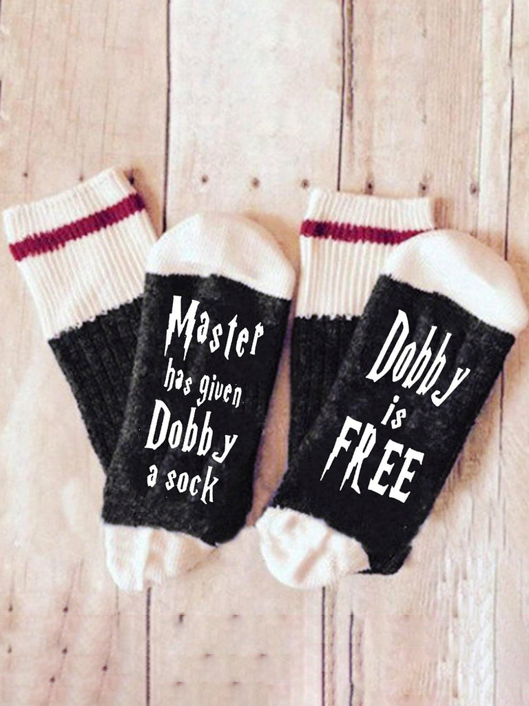Womens Master has given Dobby a Socks  Cotton Letter Socks