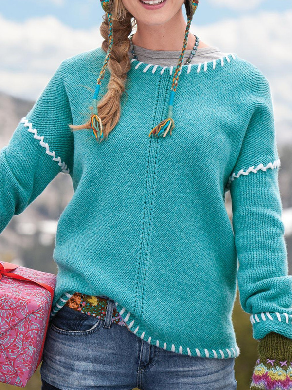 Blue Casual Knitted Plus Size Sweater