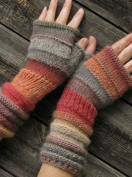 Womens Winter Fingerless Gloves Crochet Knit  Arm Warmers