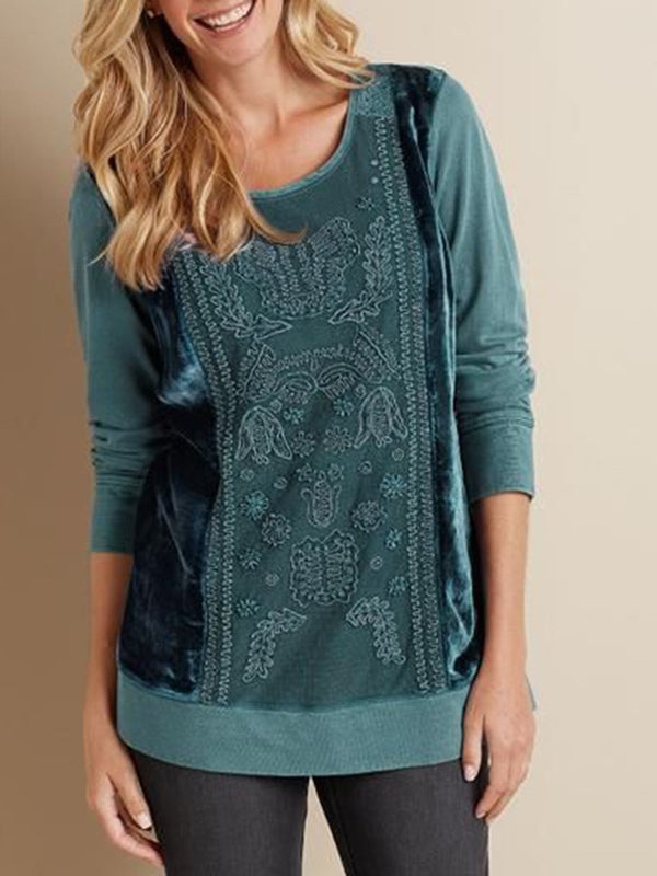 Irisruby Embroidery Cotton-Blend Casual Long Sleeve Plus Size Shirts