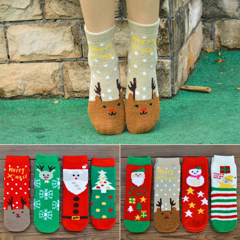 Fuzzy socks Christmas Socks for Women Cozy Xmas Crew Socks Women Fancy Christmas Holiday Design Warm Slipper Socks Girl