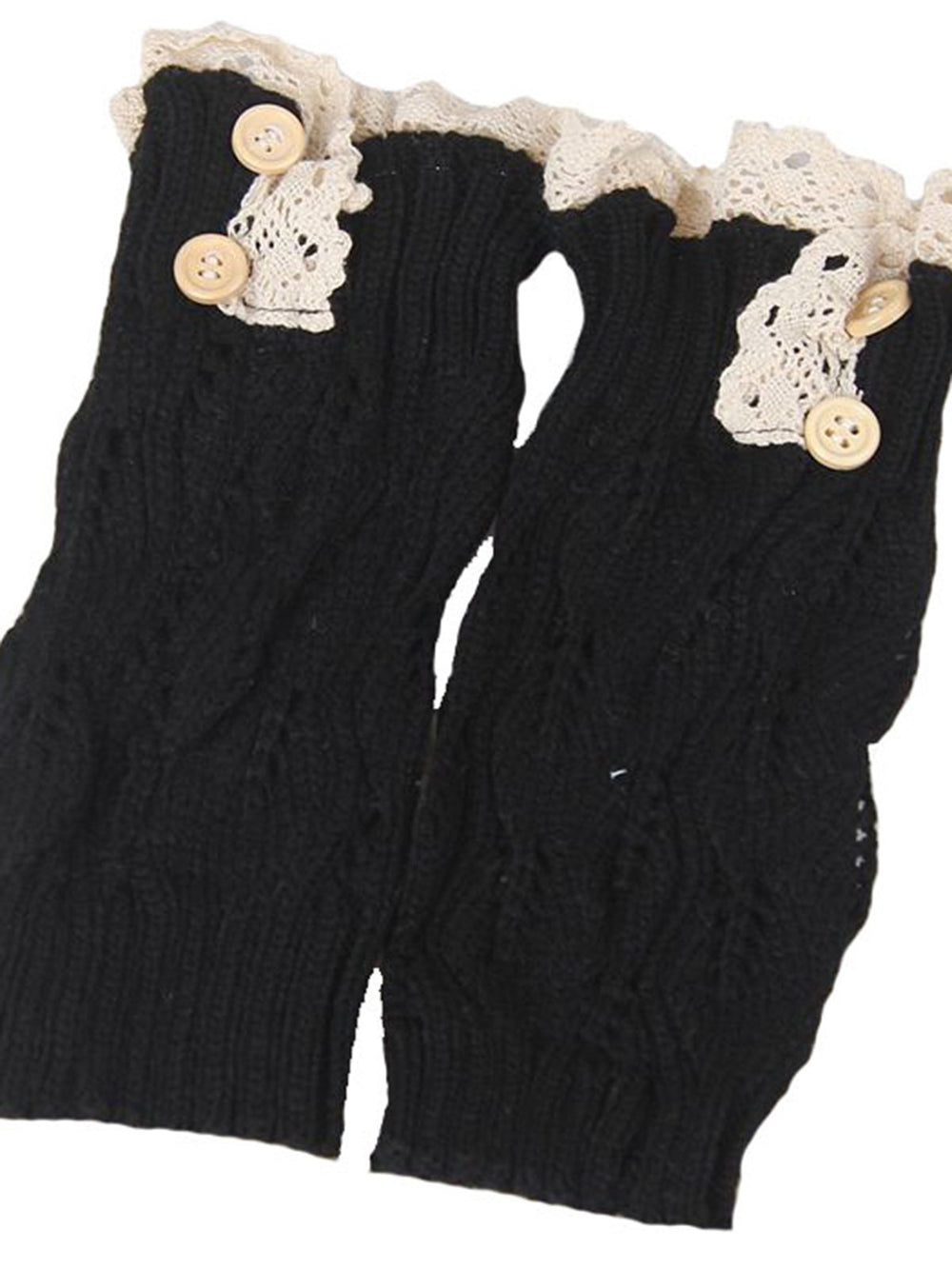 Irisruby Women Winter Boot Cuffs Fashion Button Down Short Leg Warm Knit Lace Shark Tank Leg Boot Cuffs