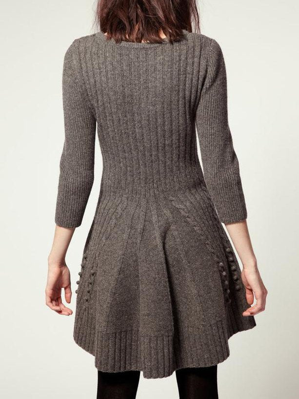 Gray Long Sleeve Casual Dresses