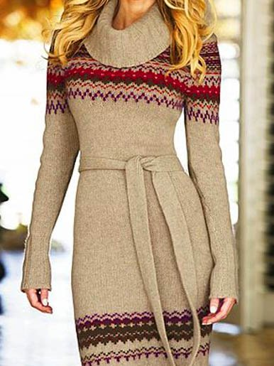 Irisruby Women Apricot Knitted Plus Size Work Casual Turtleneck Dresses