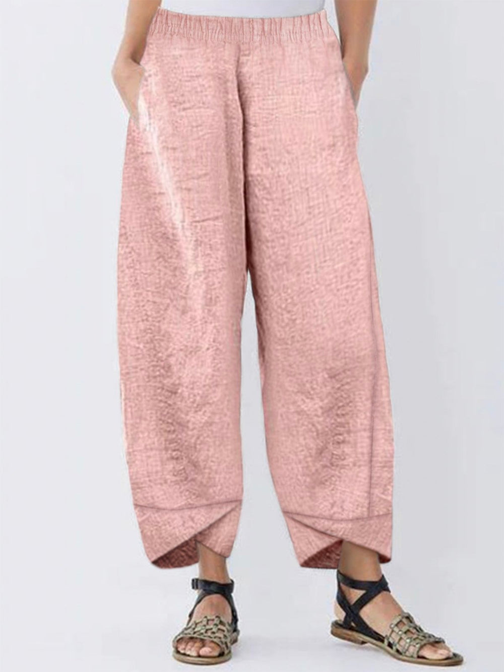 Casual Linen Paneled Pants