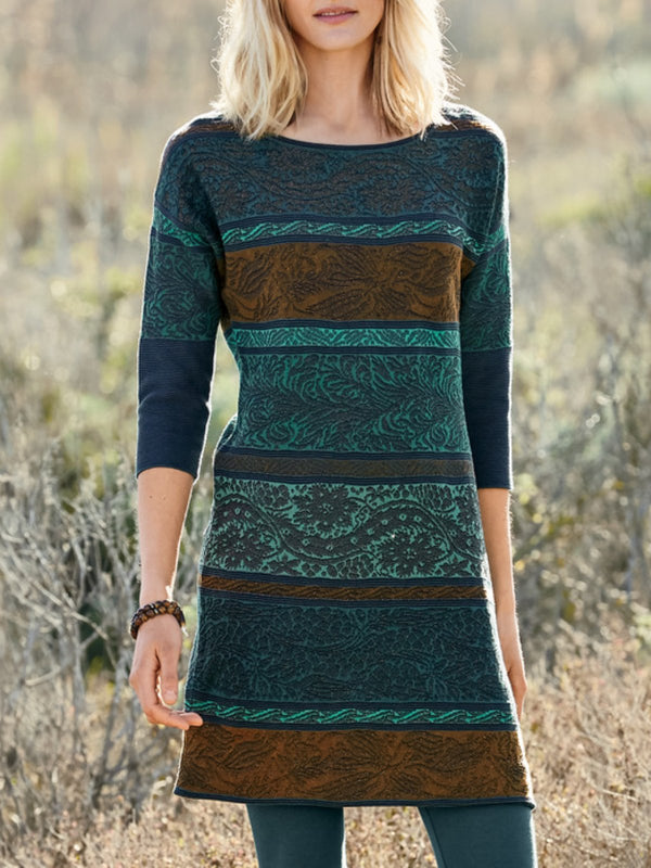 Green Round Neck Long Sleeve Floral Printed plus size Dresses
