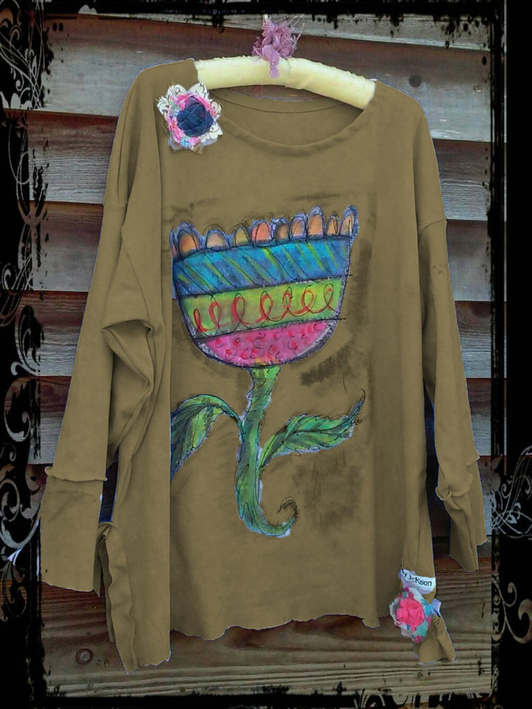 Floral Shift Cotton Long Sleeve Shirts & Tops