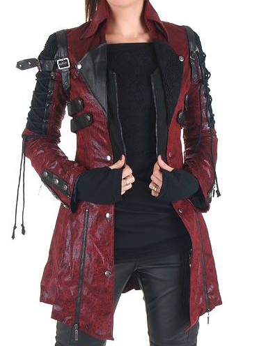 Irisruby Stitched Zipper Slim Leather Plus Size Coat