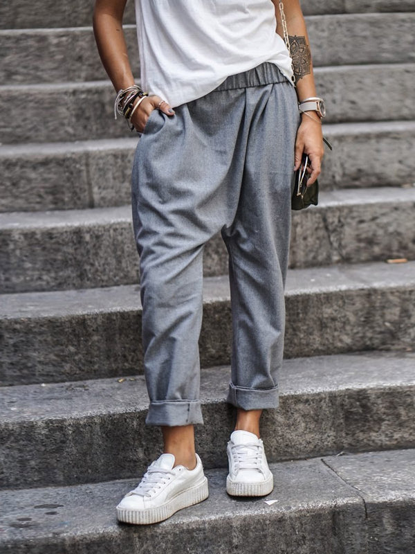 Summer Loose Fit Casual Trousers Cotton And Linen Home Wear Out