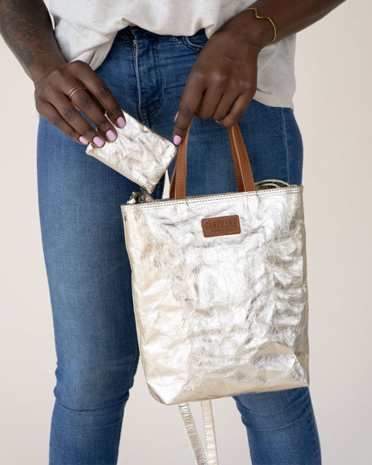 Mini Shoulder Tote Metallic
