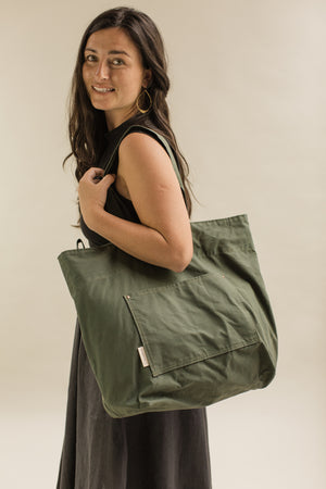 Tote bag in Waxed Organic cotton