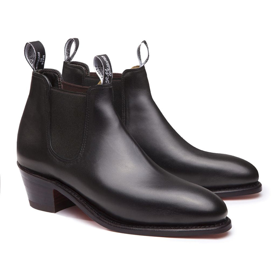 Adelaide Boots Cuban Heel Black D Fit