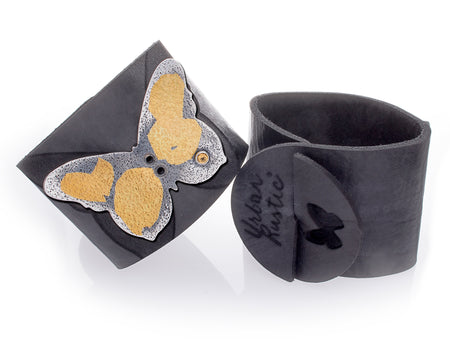 Butterfly Keum-boo Leather Cuff