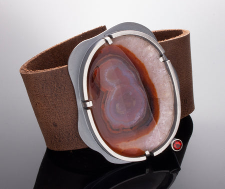 Signature Leather Cuff with Exotic Stone