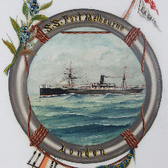 Painting on Milk Glass of S.S. Port Melbourne