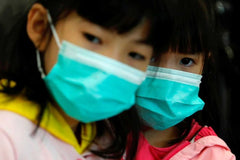Children wearing mask to avoid coronavirus covid-19