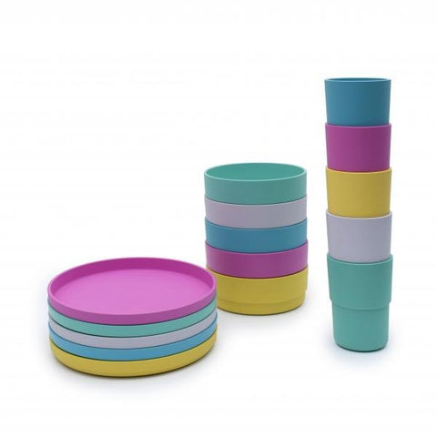 Image of colourful plant base cups and plates
