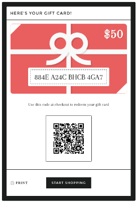 Image of a digital Gift Card
