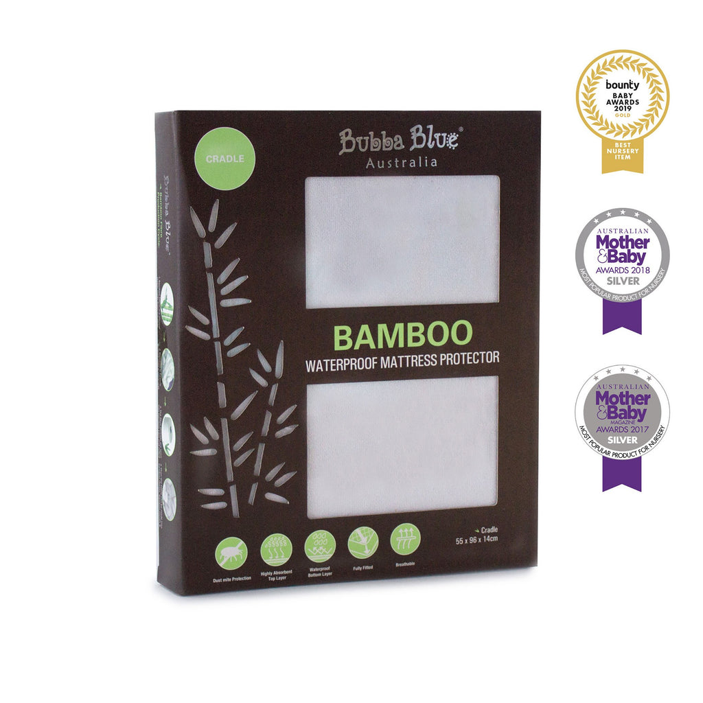 Bamboo White Cradle Waterproof Mattress Protector | Bubba Blue - Nurture Little Footprints