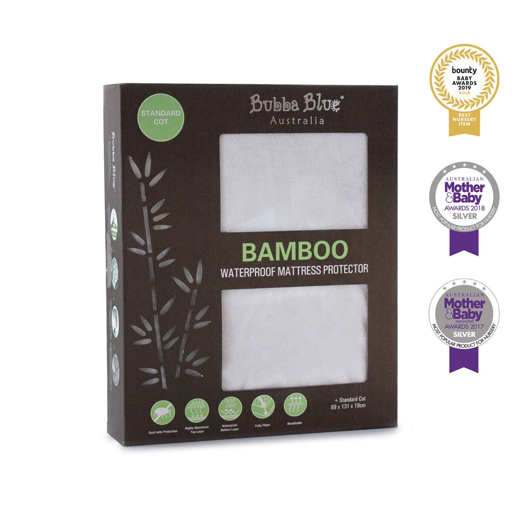 Bamboo White Standard Cot Waterproof Mattress Protector | Bubba Blue - Nurture Little Footprints