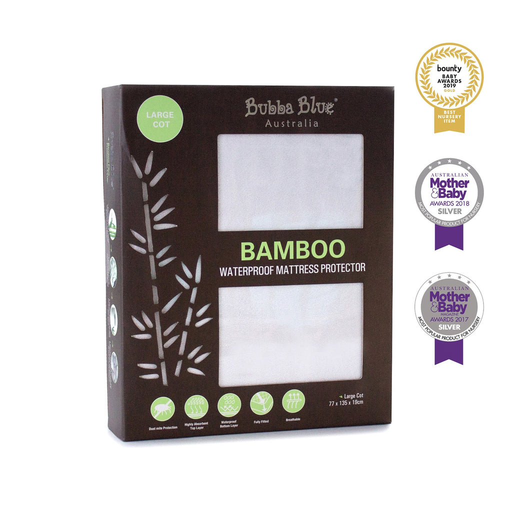 Bubba Blue Bamboo White Large Cot Waterproof Mattress Protector
